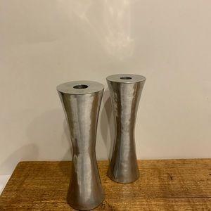 MID CENTURY MODERN: 2 Silver candlesticks